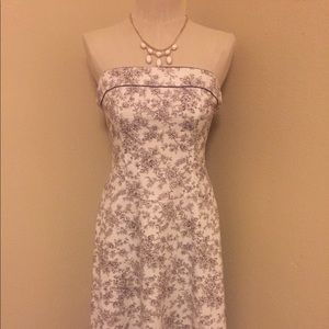 Teeze Me Brown/White Floral Strapless Dress